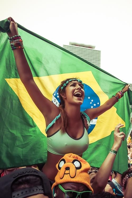poitrine de supportrice brésilienne
