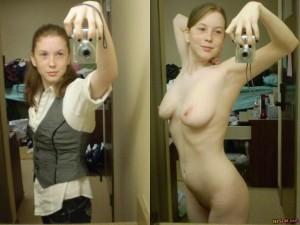 Une rousse coquine fait un selfie habillée puis nue