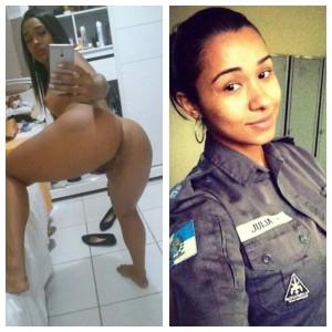 latine en uniforme puis nue en selfie